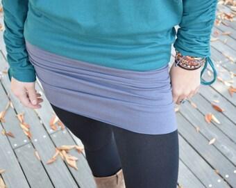 Convertible mini skirt/dress- organic cotton mini skirt- roll over mini skirt