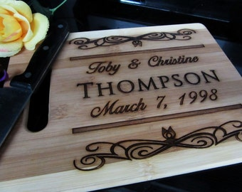 Valentine's Day Gift - Personalized Bamboo Cutting Board - FREE ENGRAVING