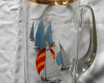 Pitcher with boats