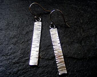 Silver Long Hammered Earrings  Rustic Woodgrain textured dangle drop earrings