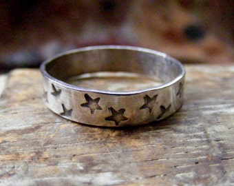 Silver Star textured ring with hand stamped stars for stacking