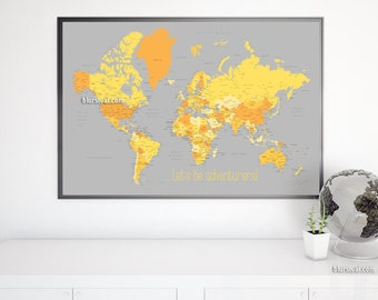 36x24 printable world map dark navy blue wall art navy 36x24 printable world map with capitals cities diy travel pinboard adventure quote gumiabroncs Image collections