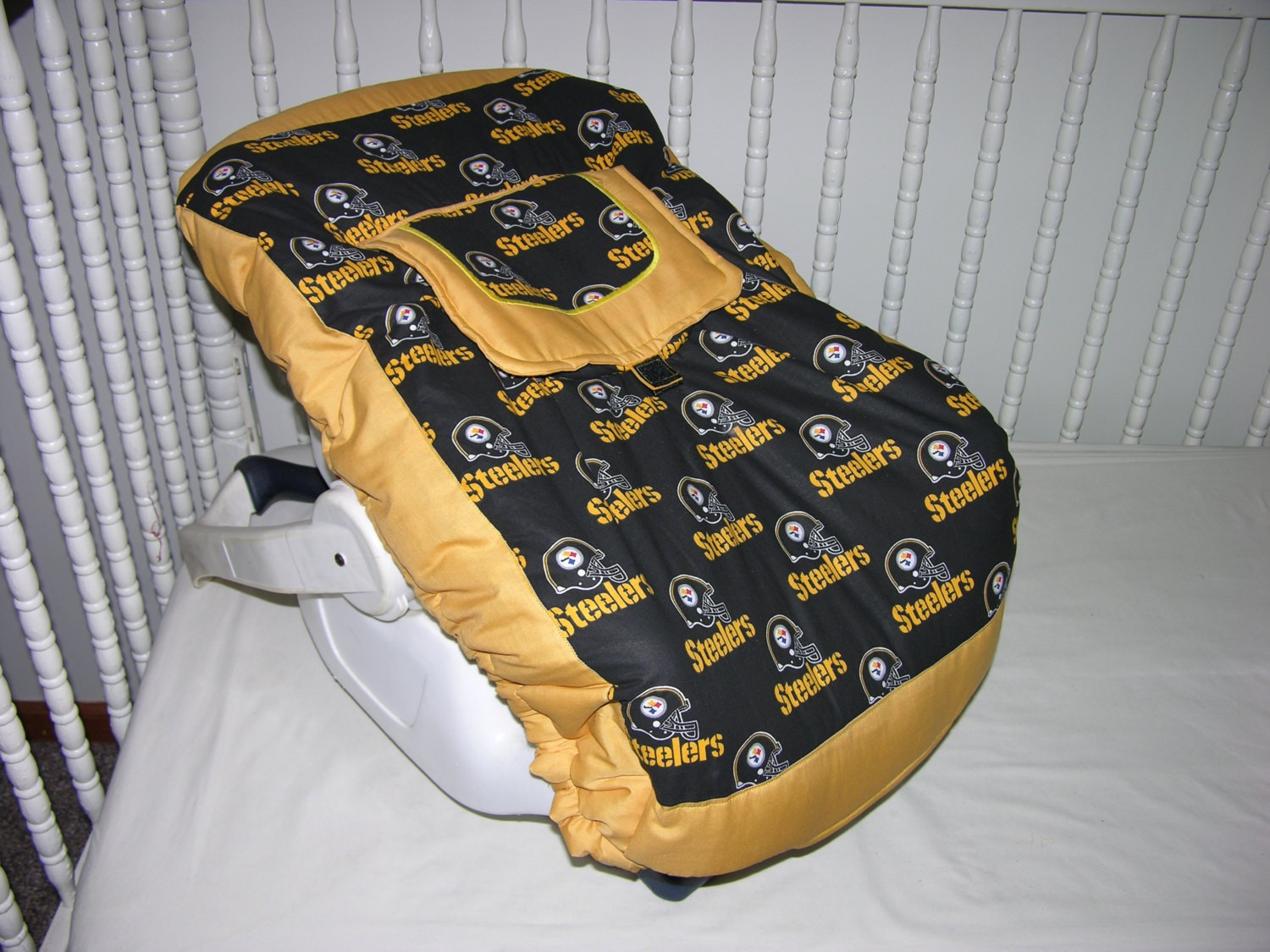 new infant carrier cover m w pittsburgh steelers fabric. Black Bedroom Furniture Sets. Home Design Ideas