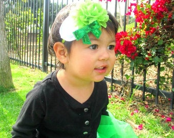 St Patricks Day Headband - Green Flower - Irish Headband