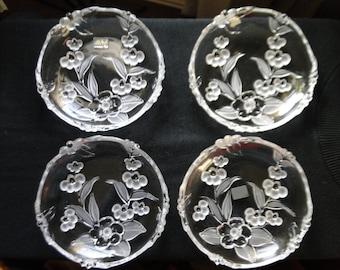 "Mikasa Salad Plates, West Germany Crystal "" Spring Medley "" , Dessert Plates, Set of Four"
