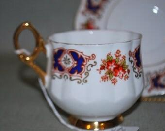 China Teacup and Saucer, Vintage Rosina