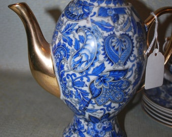 Vintage Royal Paisley Blue and White Teapot Trimmed in Gold