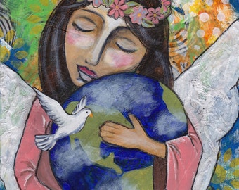 Angel of Peace, Angel Art, Angel Painting, Folk Art, Inspirational Art, Small Painting, Giclee Print