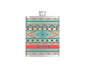 Personalized Aztec Wallpaper Bridesmaid Gift *** FREE FUNNEL INCLUDED ***  - Stainless Steel 8 oz Liquor Hip Flask - Flask#49