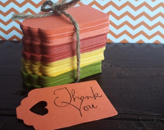 Rustic Fall Thank you tags, Fall favor tags, Fall wedding, Thanksgiving, Thank you tags, Fall colored tags