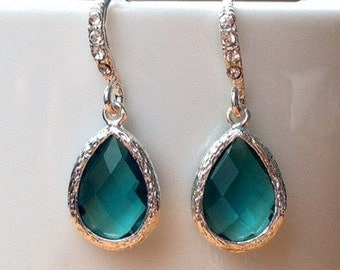 Silver and emerald green framed crystal earrings