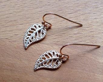 Minimalist rose gold filigree leaf charm earrings