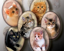 Kittens & Cats oval digital collage sheet images for pendants cameo 30x40mm 22x30mm 18x25mm 13x18mm printable download cabochon charm design