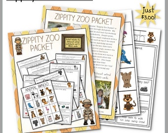 "Children's Zoo Packet for field trips and homeschool use ""Zippity Zoo"" Worksheet"