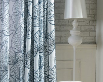 Off White Sheer Curtain Voile Panel With Large Printed Leaf Pattern. One or Two Panels. Custom Size Made To Order. 3 Colors Blue Grey Green