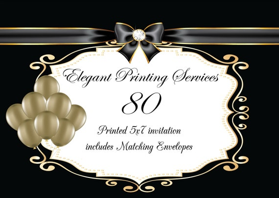 80 pearl descent printed invitations with matching envelopes