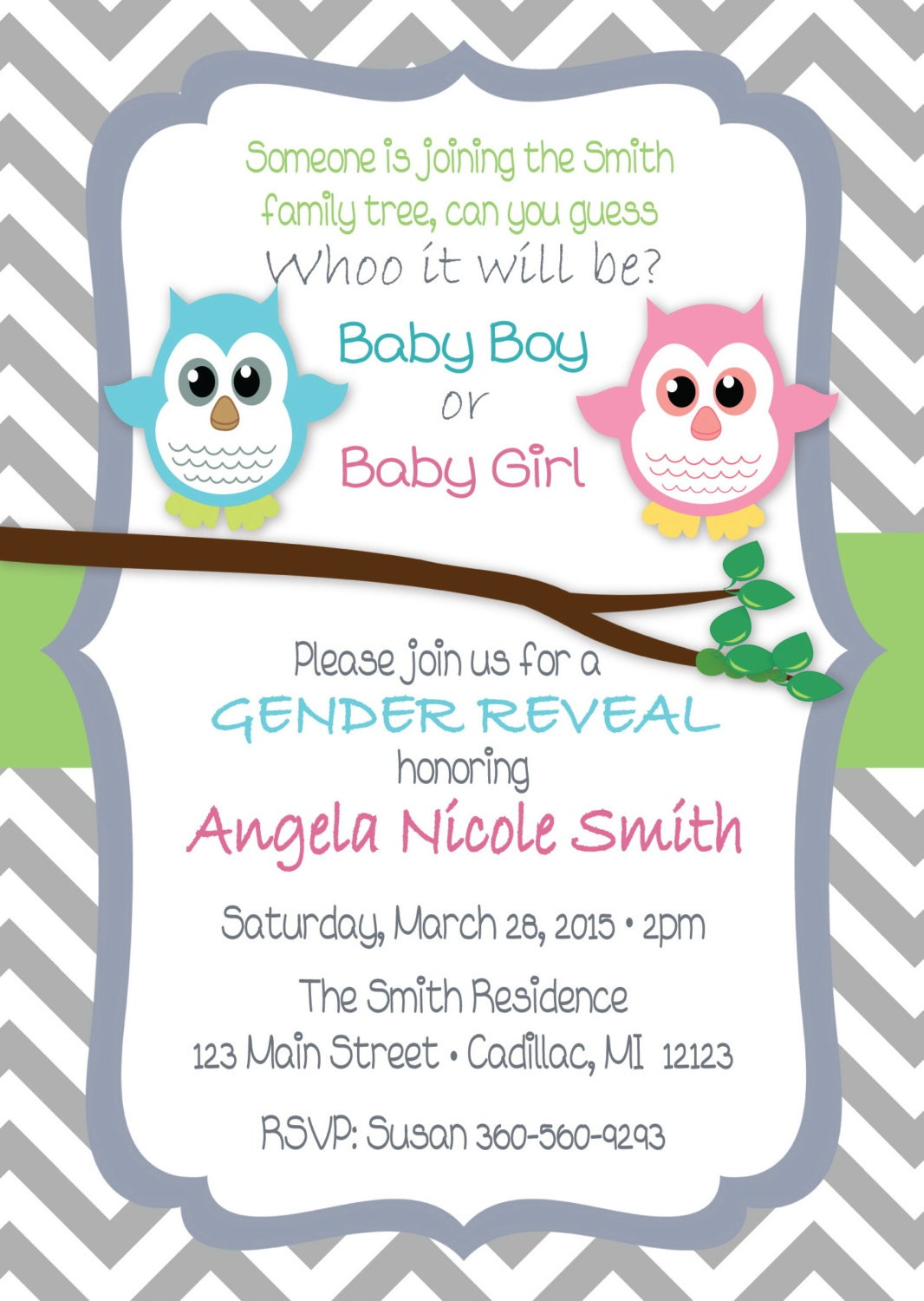 cute owl gender reveal invitation baby shower by fabpartyprints