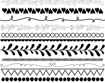 80% OFF SALE 31 Piece Digital Borders Clip Art, Flourishes, Hand Drawn, Doodle Borders, Black and White