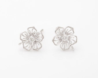 Cubic Flower Post Earring ,jewelry Supplies, Wedding Jewelry, Polished Rhodium- Plated - 2 Pieces [E0250-PR]