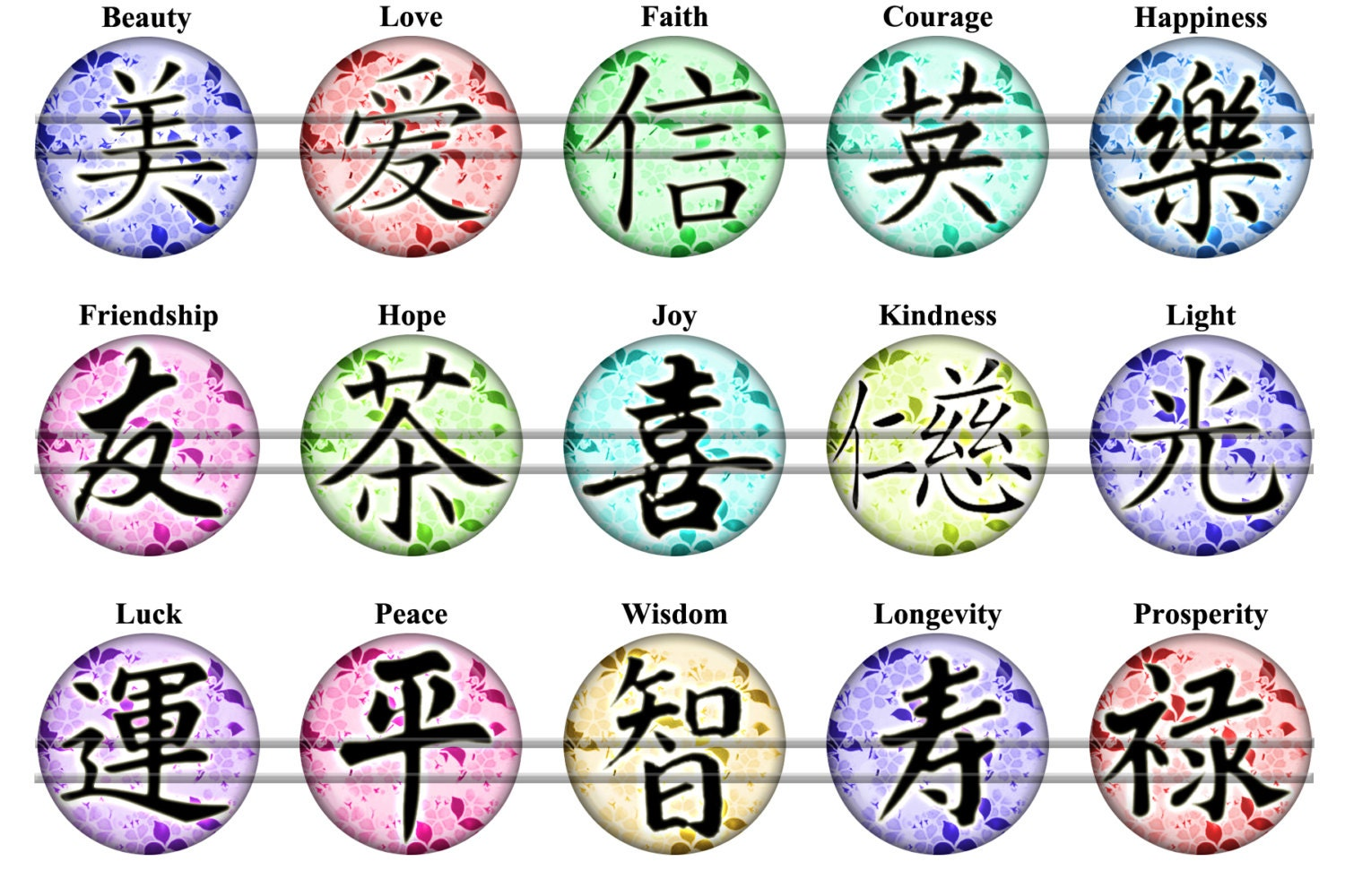 Chinese symbols 2 digital bottle caps images 1 circles for this is a digital file biocorpaavc