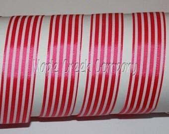 "1"" Dark Pink (Fuchsia) with White Stripes Grosgrain Ribbon 1"" x 1 yard"