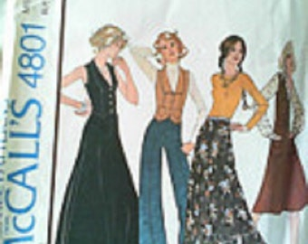 McCall's 4801 - Misses Size 16 -  Unlined vest, skirt and pants