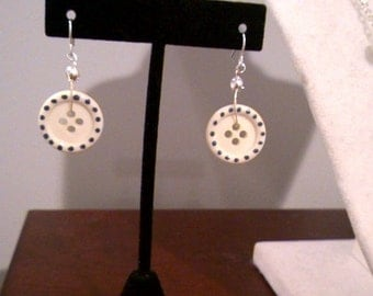 Hand Painted Polka Dot Button Earrings