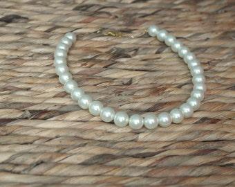Cream Pearl Necklace, single strand