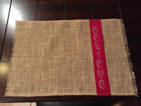 Believe Rustic Burlap Christmas Placemats Set Of 6 Table