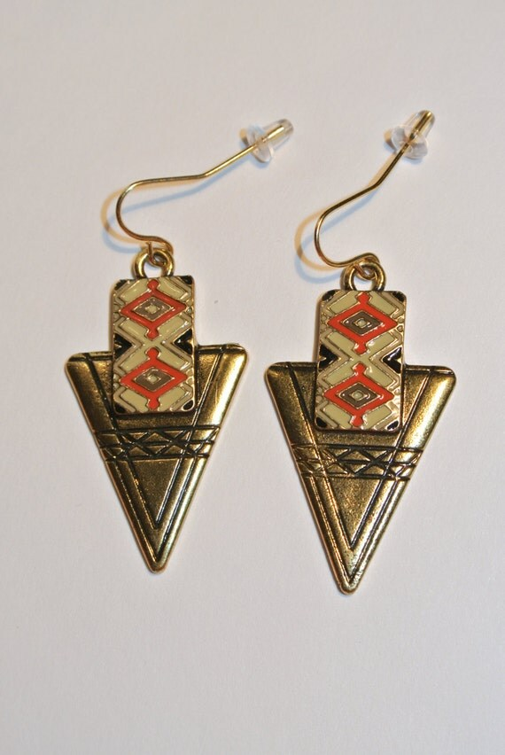 aztec spear earrings