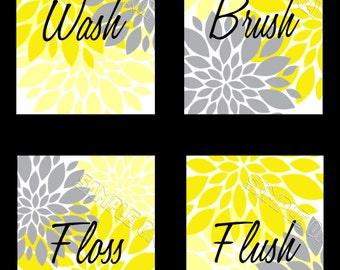Yellow Gray Flowers Starburst Bathroom Wall Art Print - Wash Brush Floss Flush -