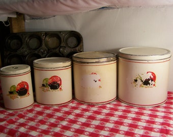 1940's Shabby Rustic 4-Piece Canister Set Kitchen Canisters Storage
