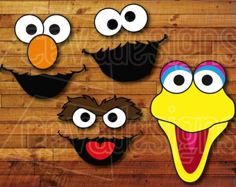 Sesame Street Birthday Party Decoration 4 Printable DIY Cutout Face Templates for pompoms or balloons! Elmo Cookie Monster Big Bird