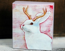 Jackalope White Rabbit Wood Block Collectible - Original Jackalope Art Block Print or Ornament - by Corina St. Martin