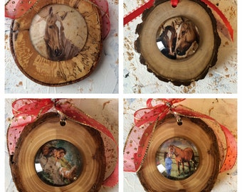 Wood and glass cabochon horse art ornaments with ribbon
