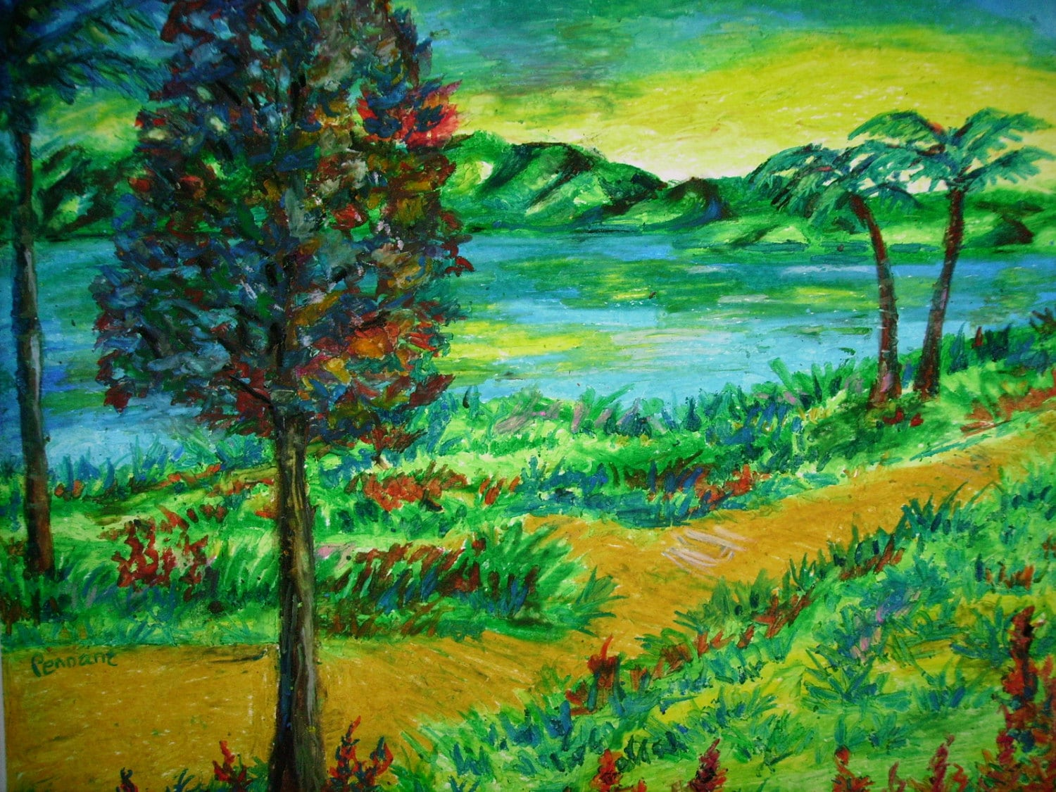 Oil pastel landscape drawing original 14x17 on bristol board for Beautiful drawings of trees