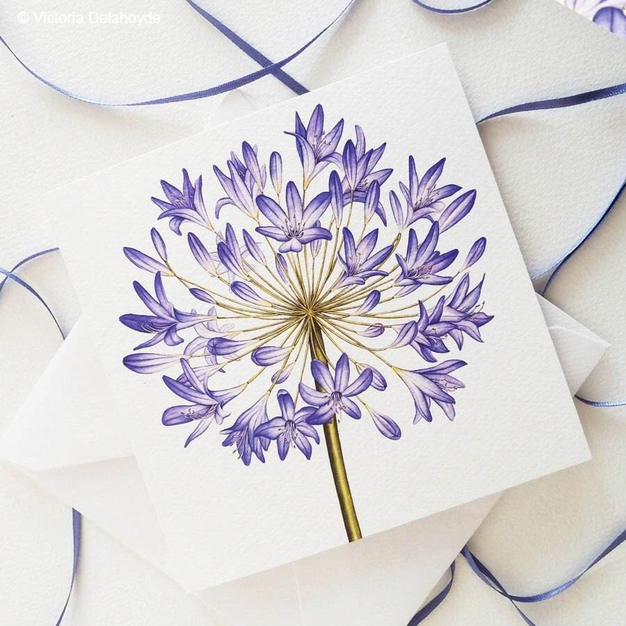 Carte de voeux agapanthus botanique fleur peinture luxe - Peinture de luxe ...