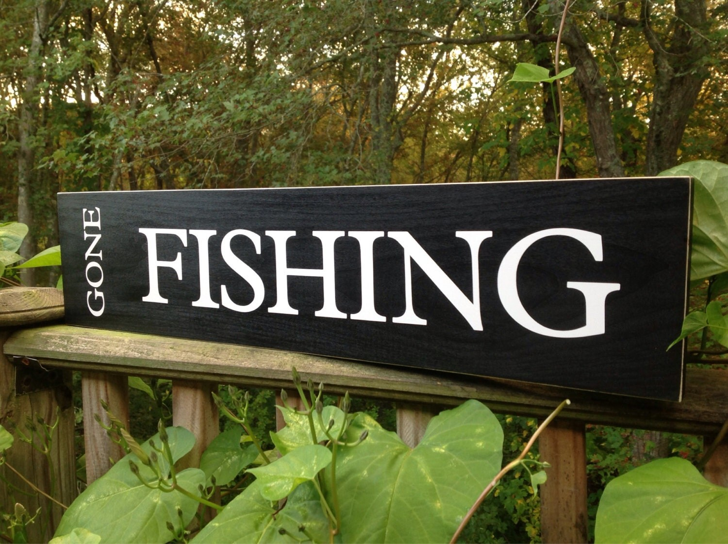 Wood sign gone fishing wood sign wood shelf sitter fish for Gone fishing sign
