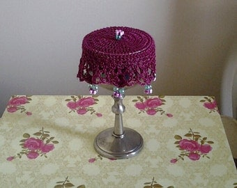Deep Fuschia Crochet Glass cover, Wine Doily, cup cover or can cosy