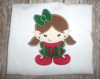 Girls Elf Christmas Winter Boutique Birthday Party Embroidered TShirt T Shirt! Sizes 2 ,3, 4, 5, 6, 7, 8