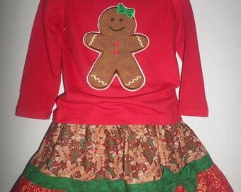 Girls Christmas Winter Gingerbread Man Girl Boutique Birthday Party Skirt Set Outfit! Ginger Bread Baking Cookie Glitter Twirl Skirt