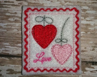 Set of 4 Heart Love Stamp Valentines Valentine Day Feltie Felt Embellishment Bow! Birthday Party