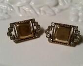 Rhinestone and Gold Tone Pierced Earrings Vintage
