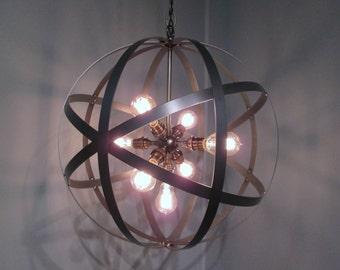 "Industrial Orb Ceiling Light Chandelier 18"" Diameter  Wine Barrel Ring 7 Light  Sputnick Edison Bulbs Antique Brass"