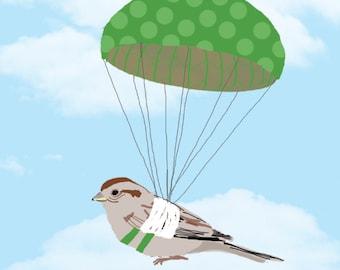 Bird with Broken Wing Parachuting, Get Well Soon Card