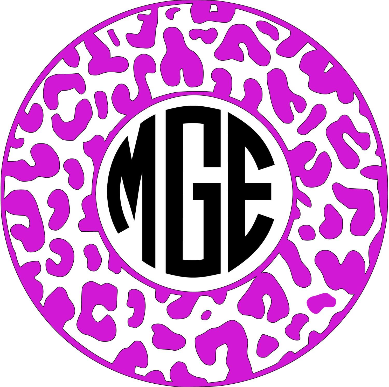 Cheetah Monogram Car Decal Vinyl Monogram Decal With Cheetah