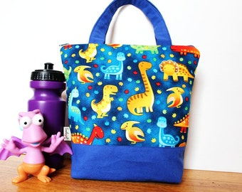 Insulated Lunch Bag / lunch Tote, Personalised, Australian made, zipped, Waterproof lining – Medium or Large, Blue Dinosaurs