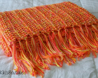 Chunky warm cozy crochet throw lap blanket (Pink & Orange)
