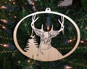Deer Whitetail Deer Christmas Ornament Holiday Decoration Laser Cut Rustic Wood