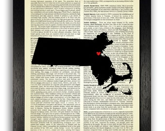 Massachusetts State Art Print, Massachusetts Poster, Custom State Wall Art, Massachusetts State Silhouette Dictionary Print, State Heart Art